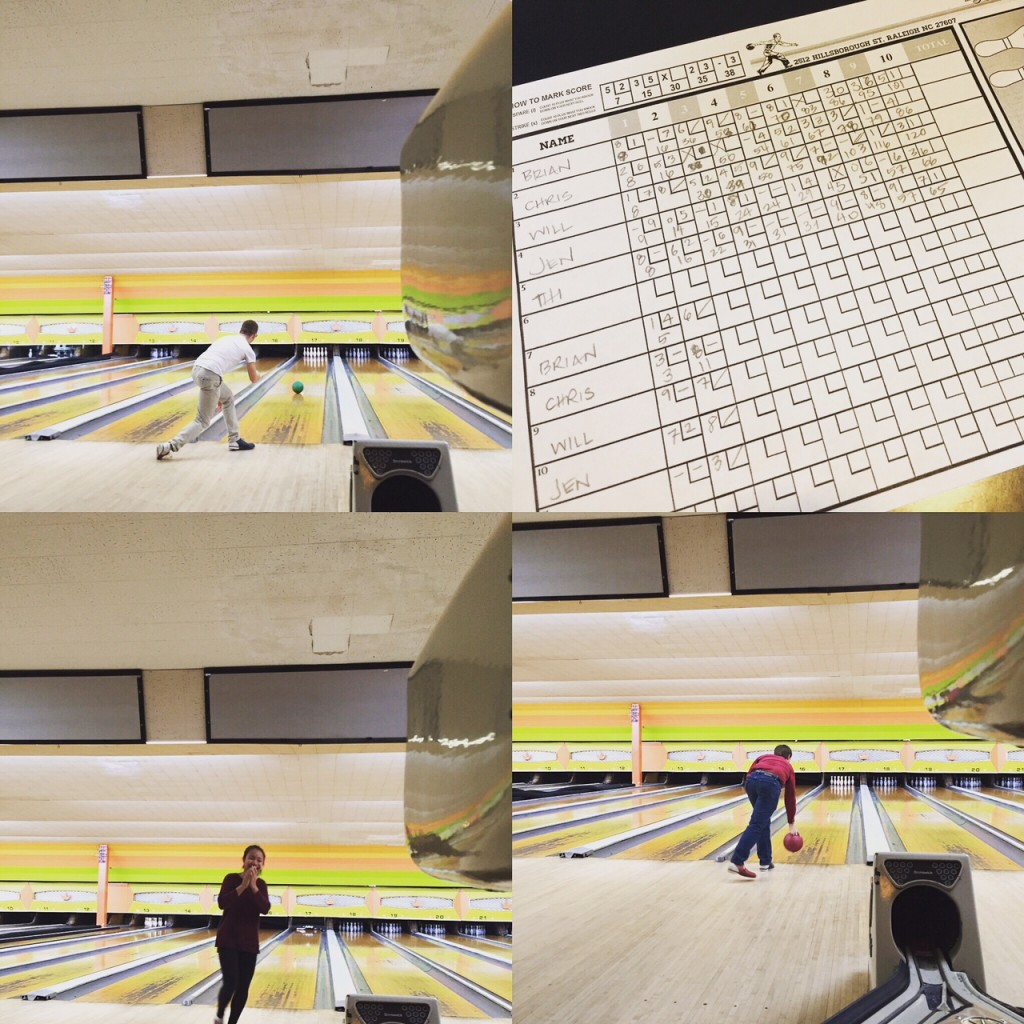 Design team members bowling, with scorecard