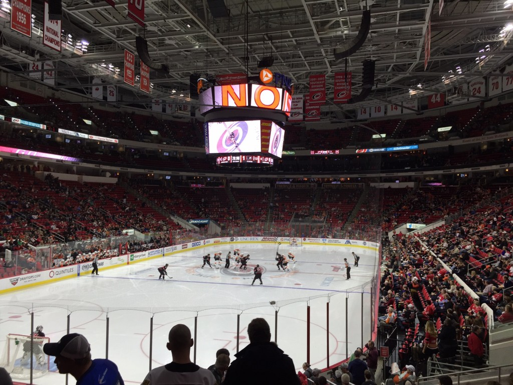 Carolina Hurricanes game, players in action