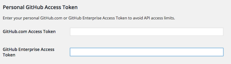 Screenshot of GitHub Access Token field