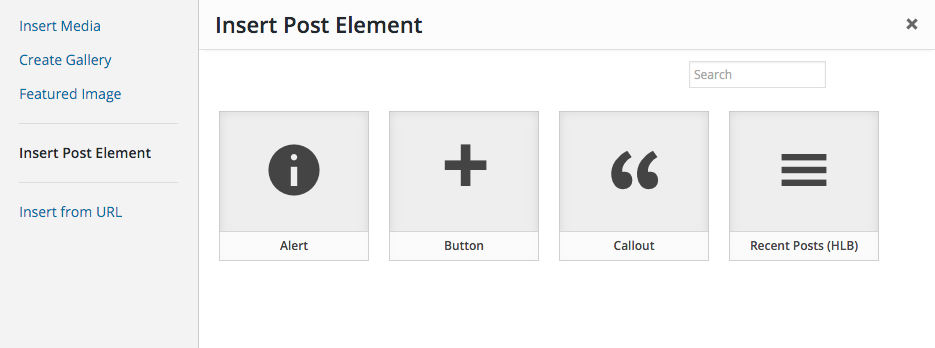 "Available shortcodes under ""Insert Post Element"" under the ""Add Media"" modal."