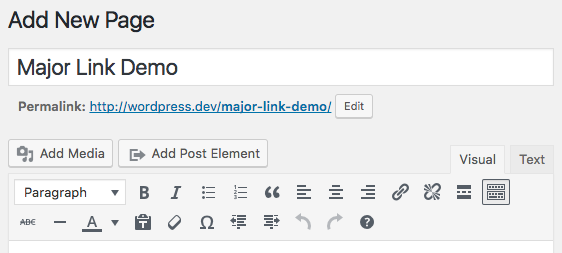 "Visual Editor toolbar with ""Insert Post Element"" button"