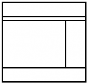 Wireframe of a webpage with a left content area and right sidebar