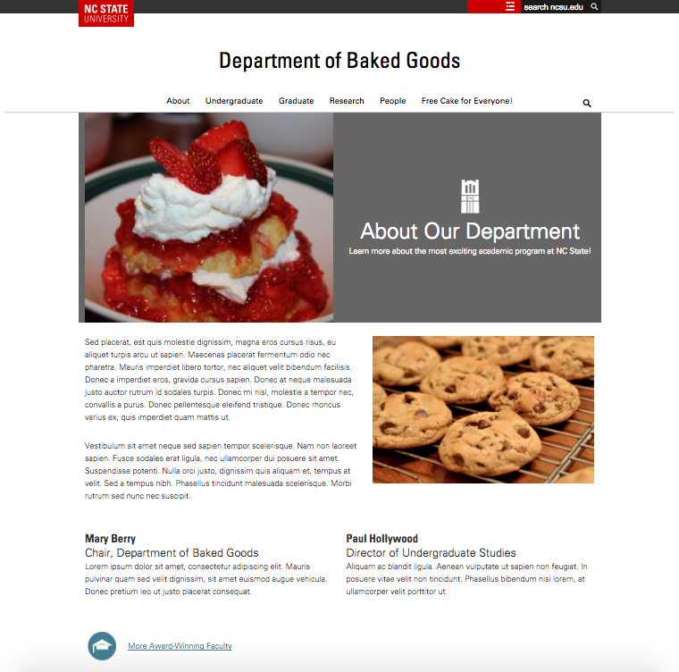 "Page layout with multiple text columns, an inline icon, and a featured image and text ""callout"""