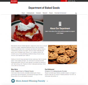 "Page layout with featured image and text ""callout,"" two columns of text, and an inline icon"