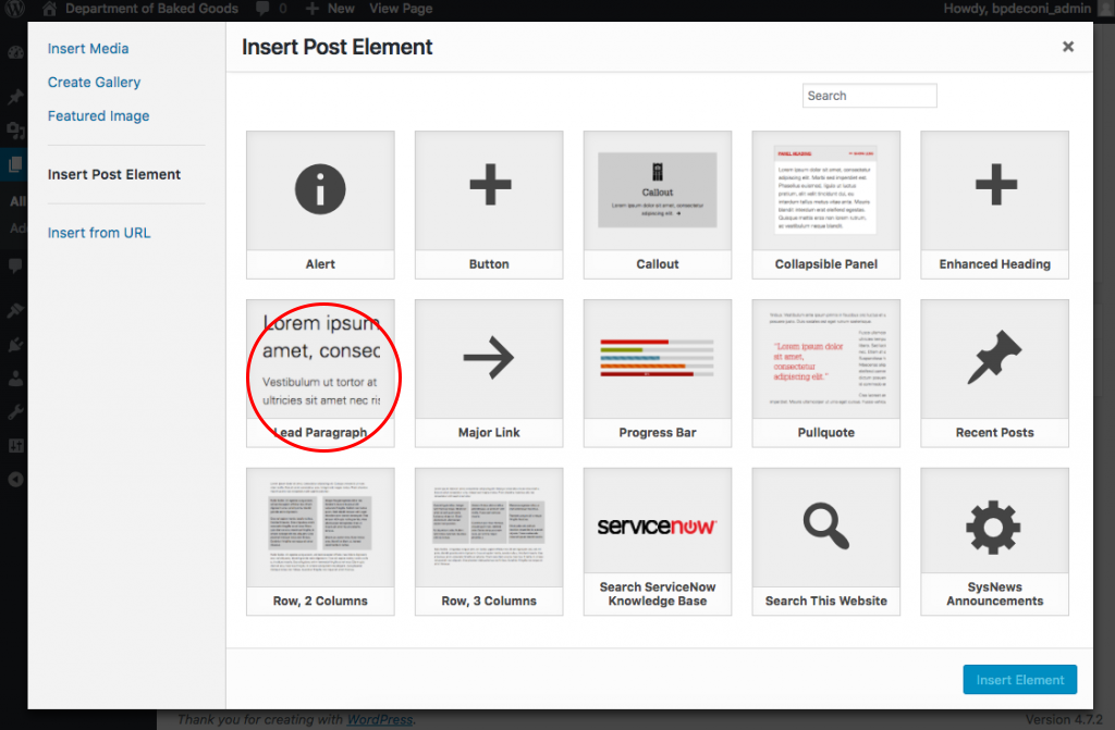 Post Elements modal with the Lead Paragraph element highlighted