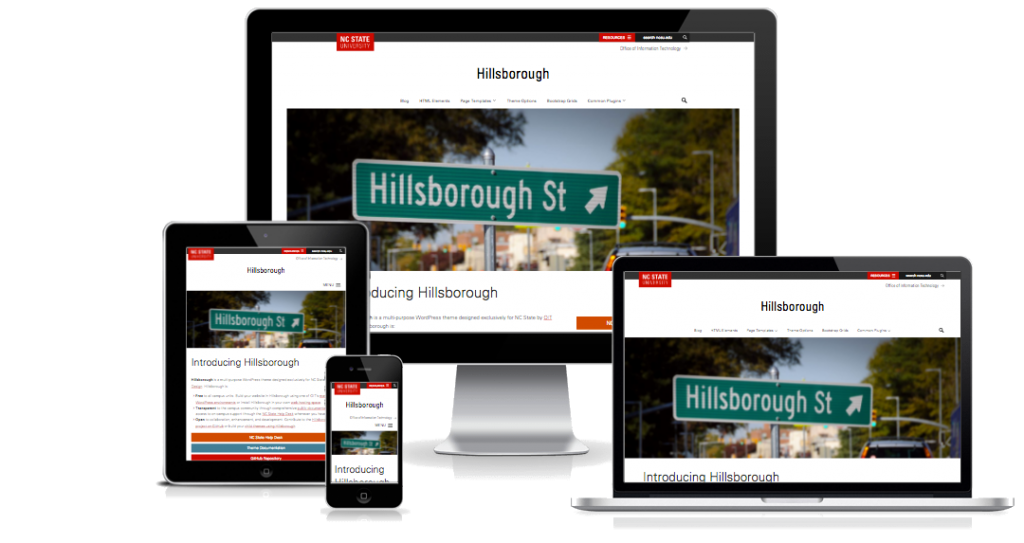 "The ""Hillsborough"" WordPress theme displayed on a smartphone, tablet, laptop, and desktop"