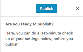 "Publish button with ""Are you ready to publish?"" confirmation text."