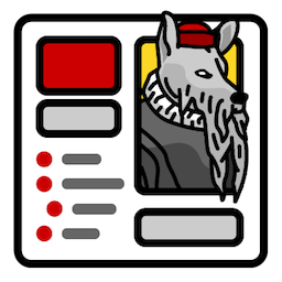 Plugin icon of a wolf styled to be reminiscent of a portrait of Johannes Gutenberg.