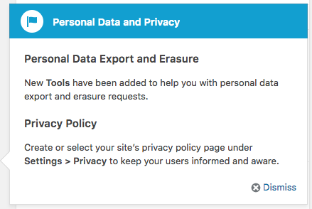 "Pop-up notice titled ""Personal Data and Privacy."" with headings ""Personal Data Export and Erasure"" and ""Privacy Policy."""