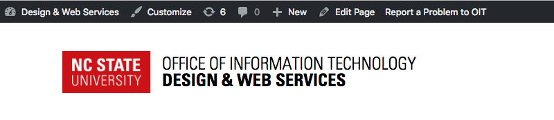 """WordPress toolbar with """"Report a Problem to OIT"""" link."""