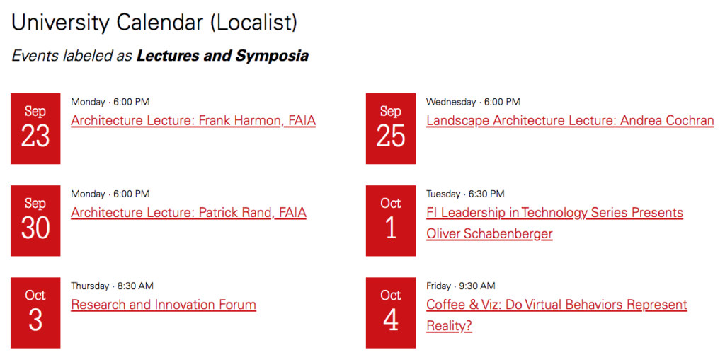 "Events from the University Calendar labeled as ""Lectures and Symposia."""