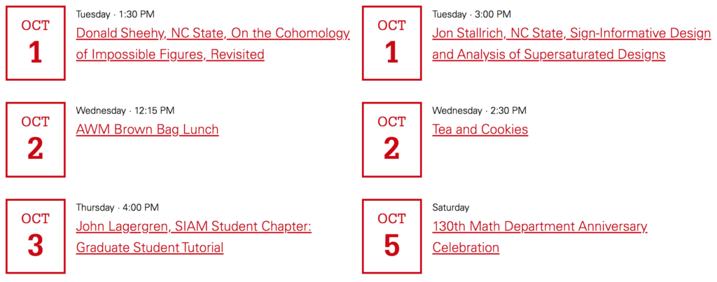 Events from the Math Department calendar with inverted colors.