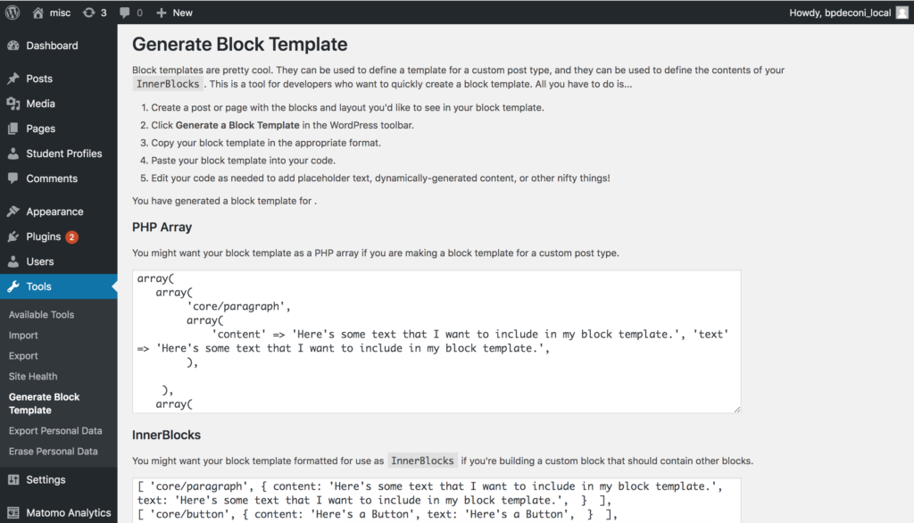 """WordPress Dashboard page titled """"Generate Block Template."""" The page contains a PHP array code block and an InnerBlocks code block generated from author-created content."""