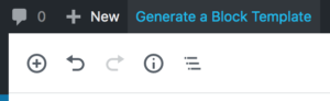 """The """"Generate a Block Template"""" link in the WordPress toolbar."""