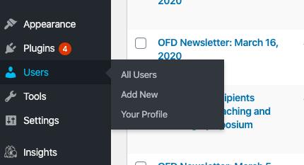 Screenshot of users in dashboard