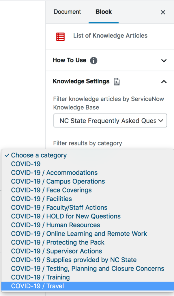 Block settings dropdown listing all of the categories associated with the NC State FAQ knowledge base.