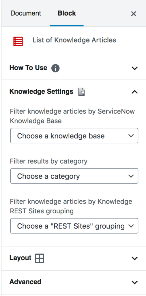 List of Knowledge Articles block settings, including options for filtering by knowledge base, category, and REST Sites grouping.
