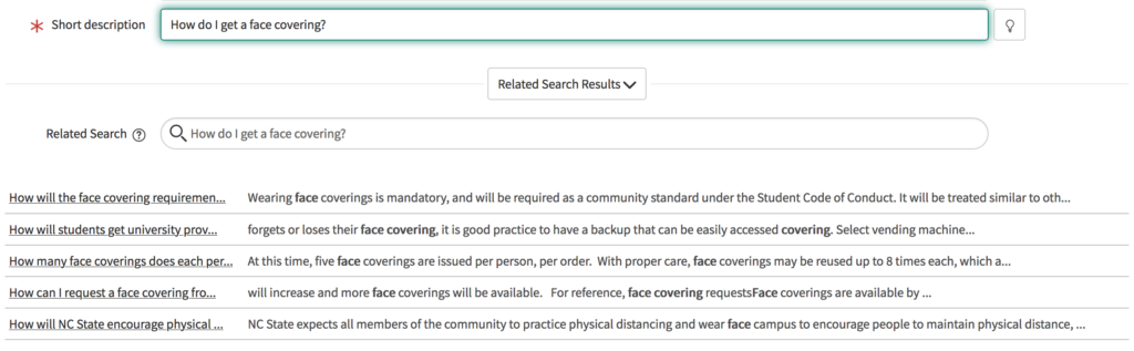 """Auto-populated knowledge article search from the short description """"How do I get a face covering?"""""""