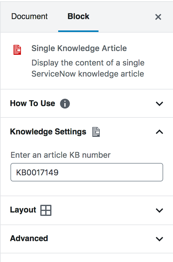 Single Knowledge Article block settings, including a field to enter a unique ID number.